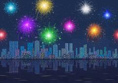 Seamless Night City Landscape with Fireworks Stock Illustration