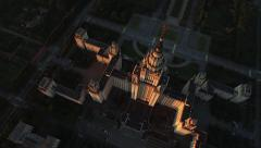 Moscow State University view from the height of the aerial Stock Footage