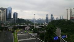 Traffic , skyline of chongqing city with a cloudy background Stock Footage