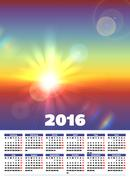 Calendar 2016 with sunny landscape Stock Illustration