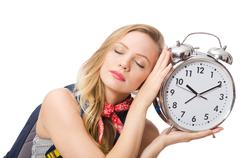 Woman student missing deadlines isolated on white Stock Photos
