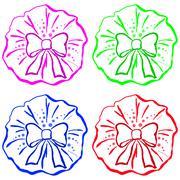 Bow, pictogram, set Stock Illustration