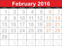 Vector planning calendar February 2016 - stock illustration