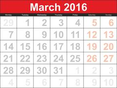 Vector planning calendar March 2016 - stock illustration