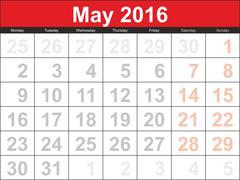 Vector planning calendar May 2016 - stock illustration