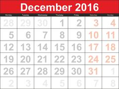 Vector planning calendar December 2016 Stock Illustration