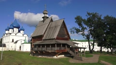The 16th century wooden Church of St Nicholas (in 4k), Suzdal, Russia. Stock Footage