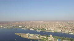 Egypt aerial in aswan showing a little desert Stock Footage