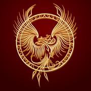 Phoenix Emblem in Circle Stock Illustration