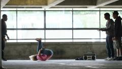 4K Flexible female breakdancer dances in a battle, shot on Red Epic Dragon Stock Footage