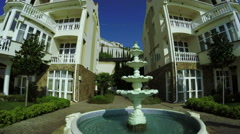 Fountain near mansion Stock Footage