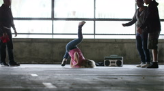 4K Flexible breakdancer dancing, in slow motion, shot on Red Epic Dragon - stock footage