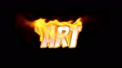 art. text on fire. word in fire. turbulence - stock footage