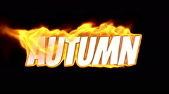 Stock Video Footage of autumn. text on fire. word in fire. turbulence