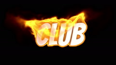 Club. text on fire. word in fire. turbulence Stock Footage