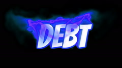 Debt. text on fire. word in fire. turbulence Stock Footage