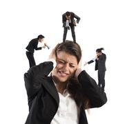 Businesswoman annoyed by screams Stock Photos