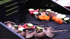 Veg on a barbecue Stock Footage