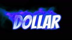 Dollar. text on fire. word in fire. turbulence Stock Footage
