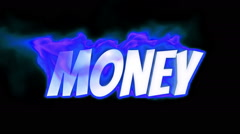 money. text on fire. word in fire. turbulence - stock footage