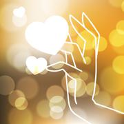 Stock Illustration of Stock blurred texture with bokeh effect and stylized hand in a graceful gesture