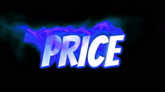 price. text on fire. word in fire. turbulence - stock footage