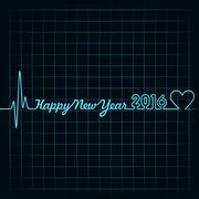 Creative New Year 2016 design with  heartbeat and heart symbol stock vector Stock Illustration