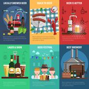Beer Poster Set - stock illustration