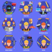 Stock Illustration of Worker Icons Set