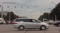 Stock Video Footage of city crossroads cars