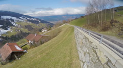Aerial view of nice village in Austrian Alps, beautiful green landscape, tourism Stock Footage