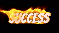 success. text on fire. word in fire. turbulence - stock footage