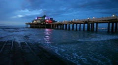 The Belgium Pier at night, Blankenberge Stock Footage