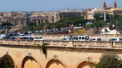 View on Triq Cirolamo Cassar road from Upper Barrakka Gardens in Valletta, Mal Stock Footage