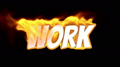 work. text on fire. word in fire. turbulence - stock footage