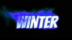 Winter. text on fire. word in fire. turbulence Stock Footage