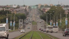 road car the city tram timelaps - stock footage