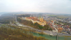 Aerial view of Melk Abbey in Austria and the River Danube. Winter, cold weather Stock Footage