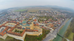 Top view of Melk Abbey and river Danube, Austria. Cold, rainy weather. Winter Stock Footage