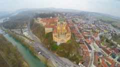 Top view of river Danube and Benedictine abbey atop town Melk, Austria. Winter Stock Footage