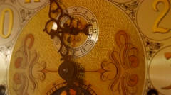 Cool old grandfather clock face in living room - stock footage