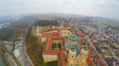 Aerial view of town Melk in Austria. Famous Melk Abbey on the River Danube Stock Footage