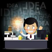 businessman working on computer with idea bulb - stock illustration
