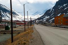Street in Longyearbyen, Svalbard - stock photo