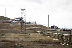 Industrial part of Longyearbyen, Svalbard Stock Photos