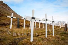 Cemetery in Longyearbyen, Svalbard Stock Photos