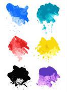 Rainbow splash watercolor paint splatters Piirros