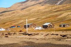 Stock Photo of Remote scandinavian huts close to Longyearbyen, Svalbard
