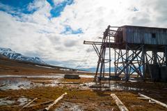 Abandoned coal mine transportation station in Svalbard - stock photo