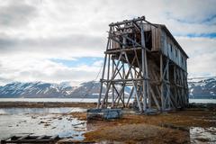 Abandoned coal mine transportation station in Svalbard Stock Photos